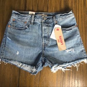 Levi's wedgie distressed cutoff high rise shorts
